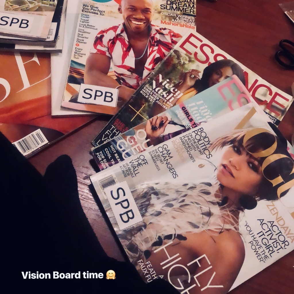 A stack of magazines that will be used for the vision board.
